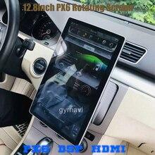 "PX6 12.8 ""Rotation IPS bildschirm doppel din auto universal gps radio DSP player Tesla Stil android 9.0 4 + 64G wifi usb bluetooth"