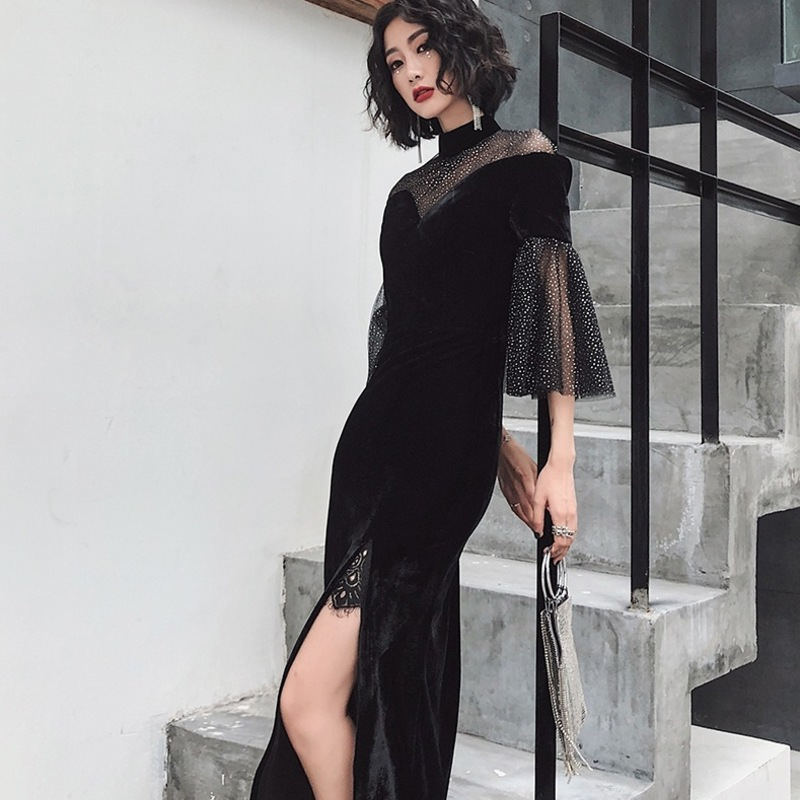 2019 Time-limited New Company Annual Birthday Party Nail Bead Gauze Dress Aristocratic Elegant Temperament Velvet Gown Long