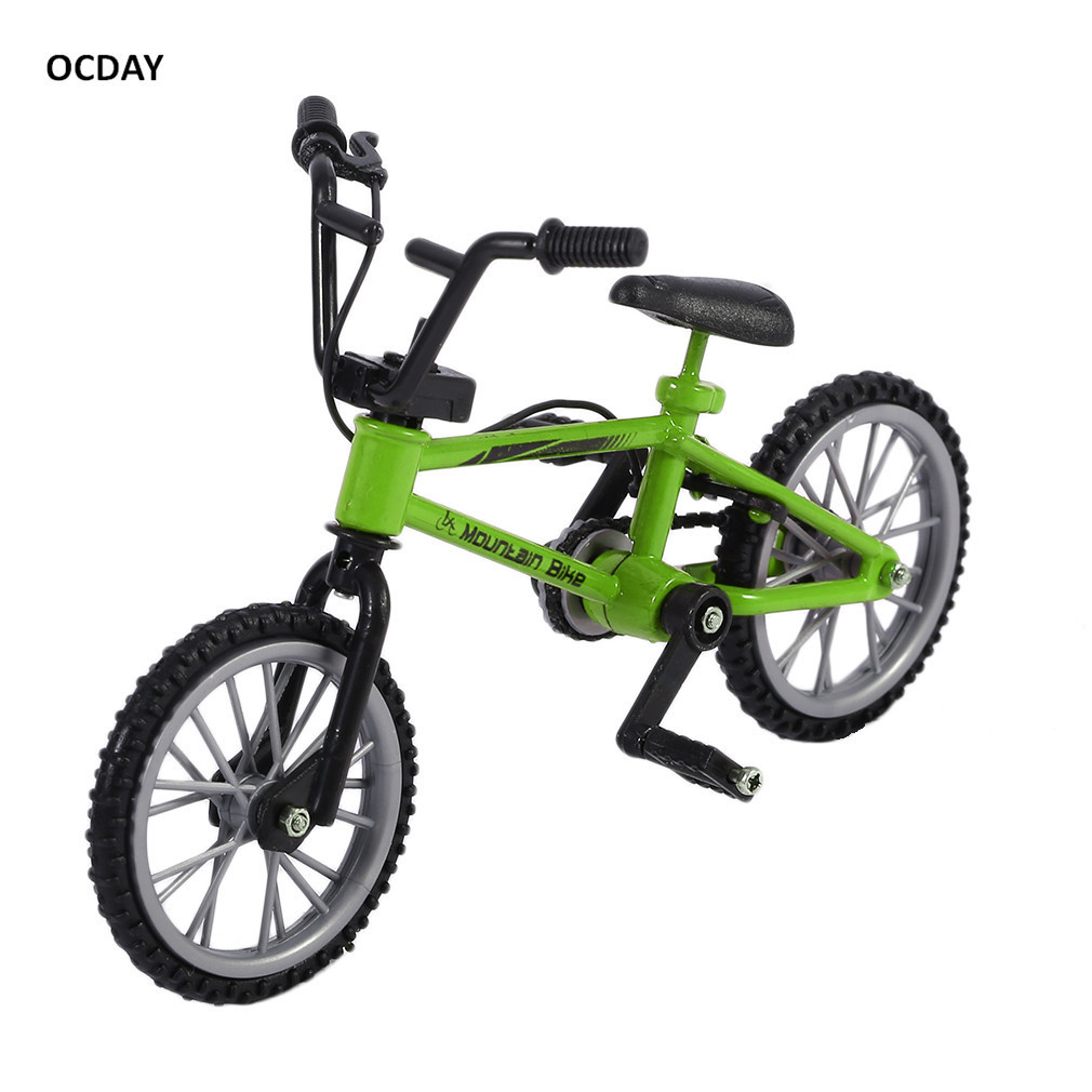 OCDAY Simulation Alloy Finger bmx Bikes Children Mini Size Green fingerboard bicycle Toys With Brake Rope Gift Funny
