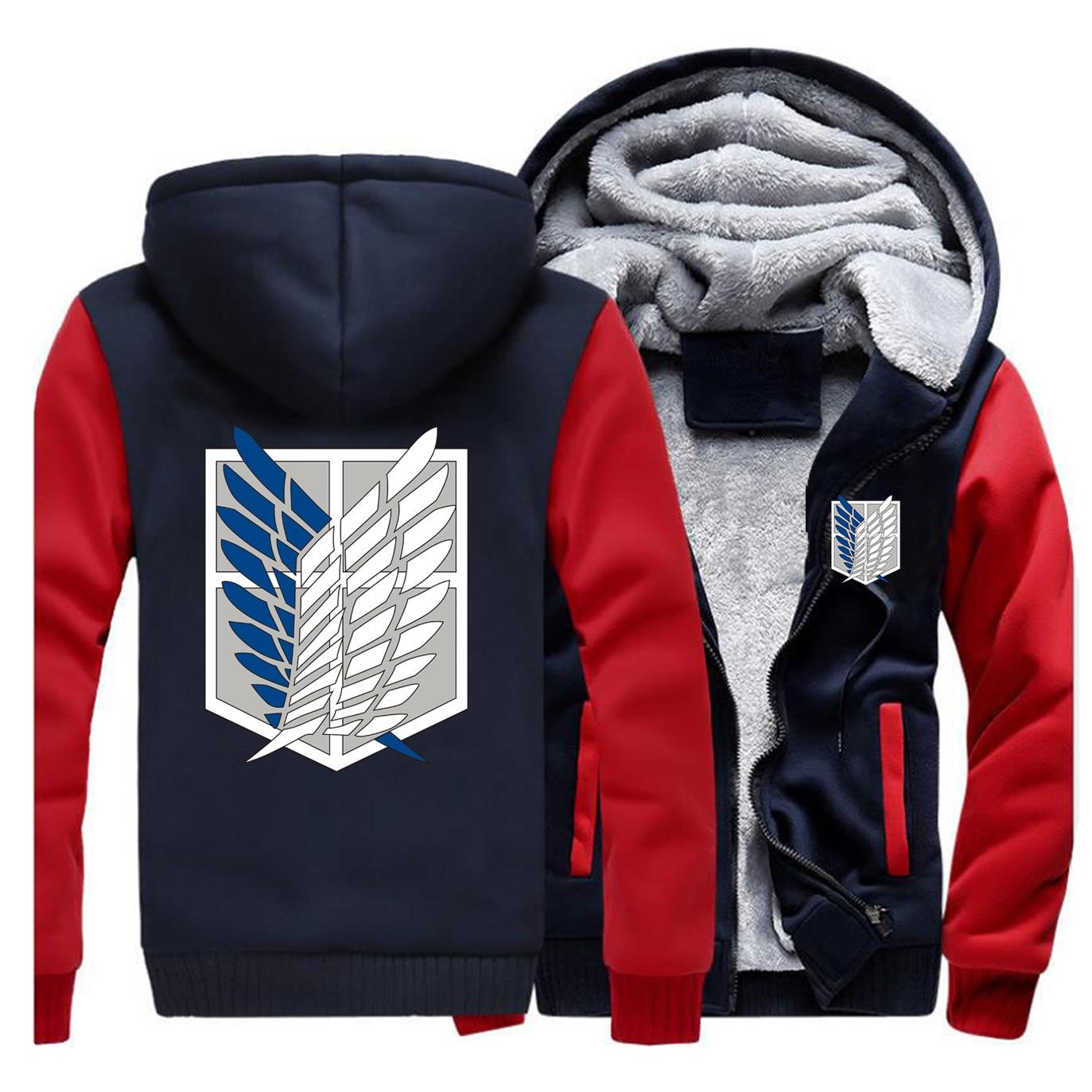 Attack On Titan Winter Coat Cosplay Scout Legion Jackets Sweatshirt Japan Anime Fleece Hooded Tracksuit Thick Harajuku Coats