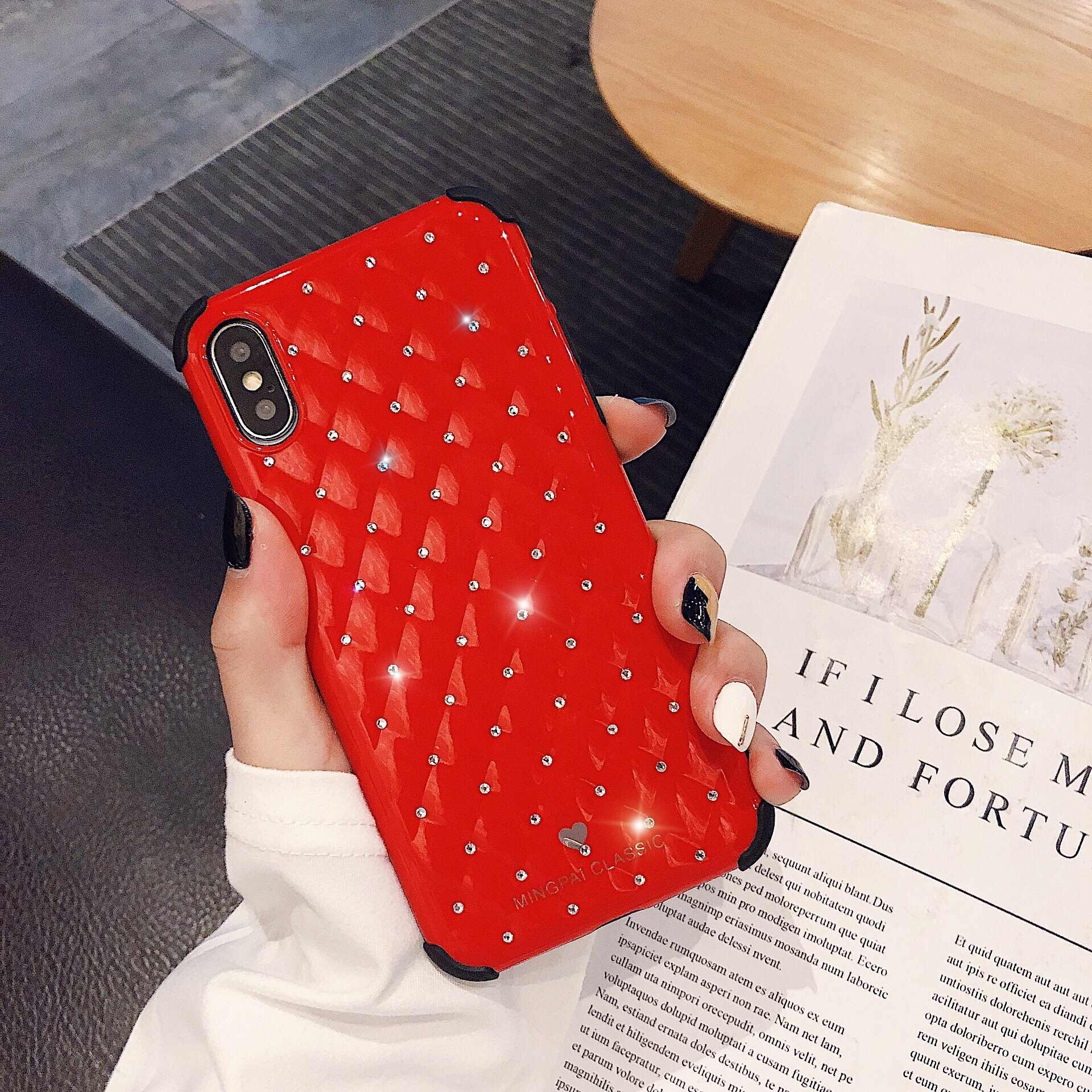 Thời trang Với jewelled Ốp lưng điện thoại Ốp Lưng Điện Thoại Cho Iphone X XS XR XS Max 8 7 6 6S 6S Plus trong suốt bảo vệ Lưng TPU Ốp Khung