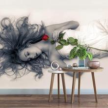 Custom Beauty red rose 3d wallpaper mura