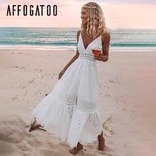 Женское хлопковое платье с v-образным вырезом afogatoo, белое Элегантное повседневное длинное платье с вышитым ремнем, высокой талией и пуговиц...
