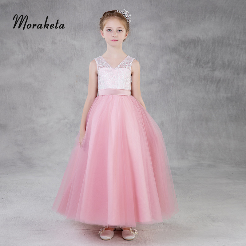 Pink Long Kids Formal   Dresses   For Weddings V-neck Sleeveless Ball Gown Princess Tulle   Flower     Girl     Dresses