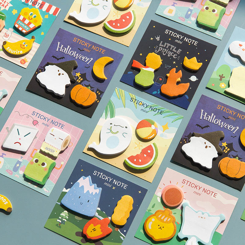 90 Sheets Cute Halloween Sticky Notes Kawaii Cartoon Memo Pad Plan Message Stickers For Kids School Office Stationery Supplies