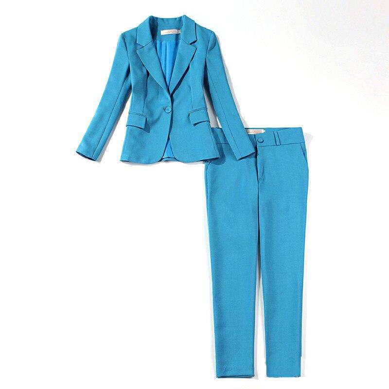 Casual Temperament Solid Color Ladies Suits Spring And Autumn New Slim Sky Blue Jacket Suit Women's Office Slim Trouser Suit