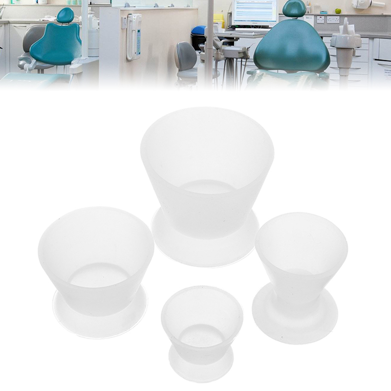 4pcs/Set Silicone Dappen Dish Mixing Bowl Dental Lab Non-Stick Flexible Mixing Cup Dentist Medical Rubber Equipment