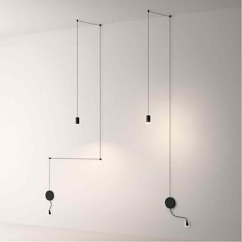 Скандинавский современный 110V 220V 240V светодиодный подвесной светильник черного цвета с вирефлоу, лампа для лестничной лестницы, лобби, 3 метра, кабель, черный подвесной светильник