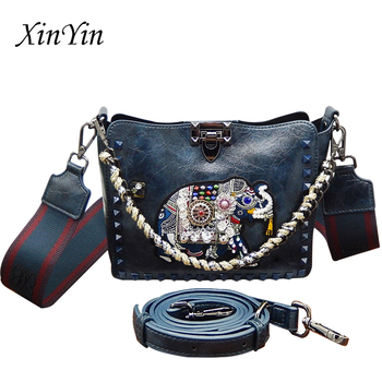 New embroidery chain rivet handbags women luxury elephant shoulder bag wild messenger bags crossbody bucket bag high quality
