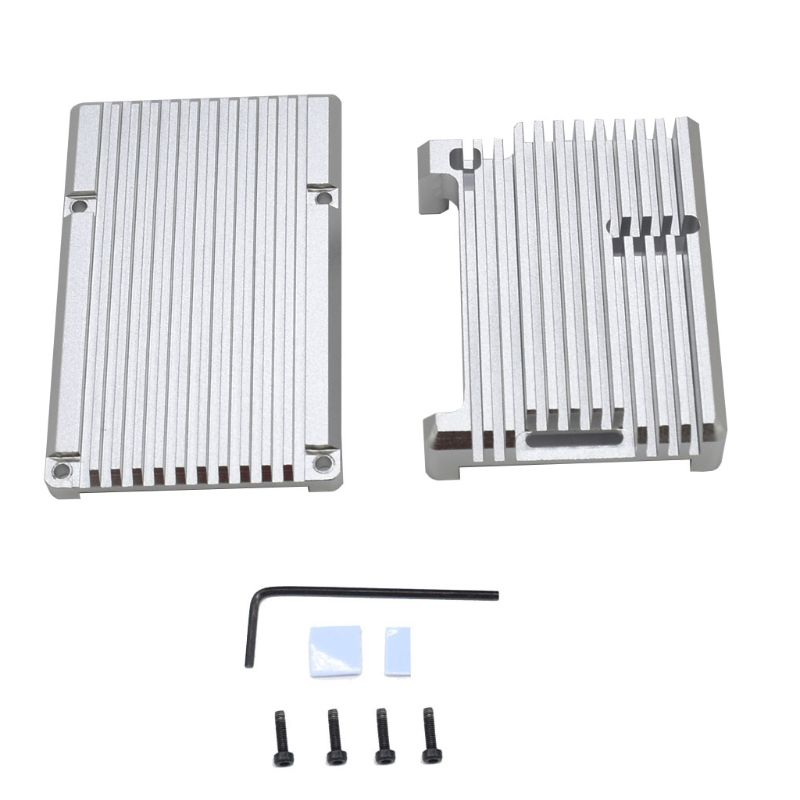 Aluminum Case Metal Protective Shell Silver Enclosure For Raspberry Pi 4 Model B