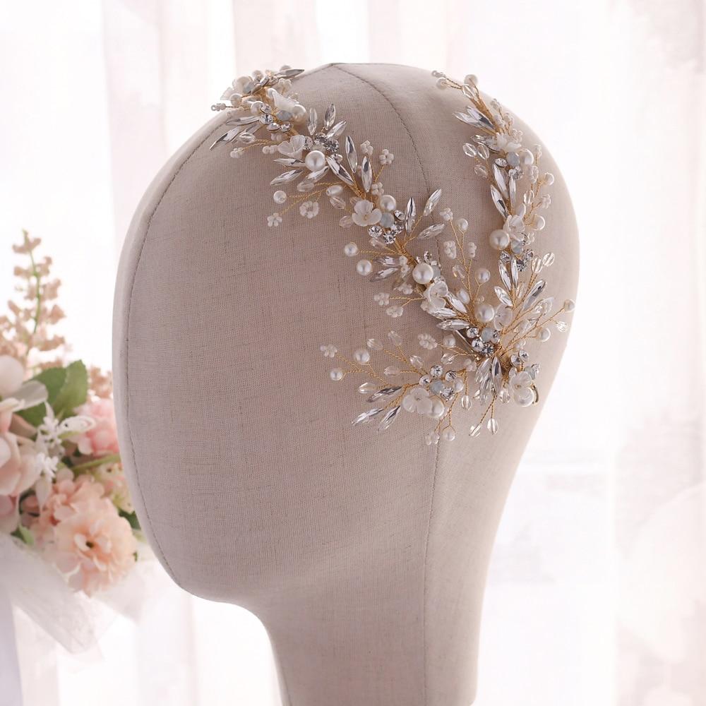 TRiXY H280 Rhinestone Bridal Headwear Bridal Hair Jewelry Gold Wedding headpieces Bridal Hair Accessory Bride Hair Tiara
