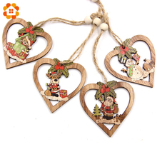 New!4PCS/Lot Christmas Heart Wooden Pendants Ornaments DIY Wood Crafts Kids Gifts for Party Decorations Tree