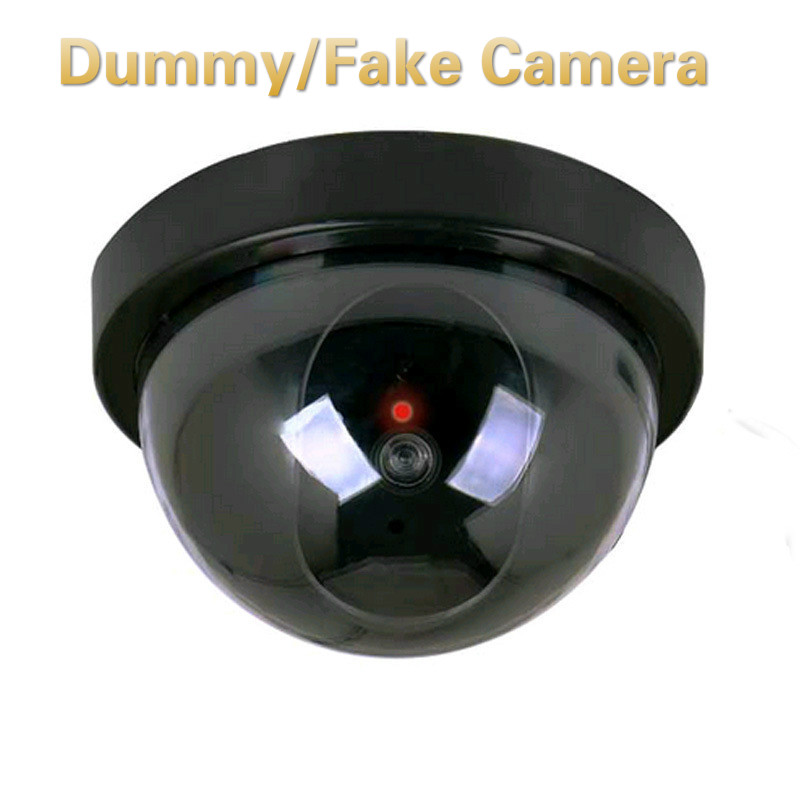 Plastic Smart Indoor/Outdoor Dummy Home Dome Fake Camera CCTV Security Camera With Flashing Red LED Light