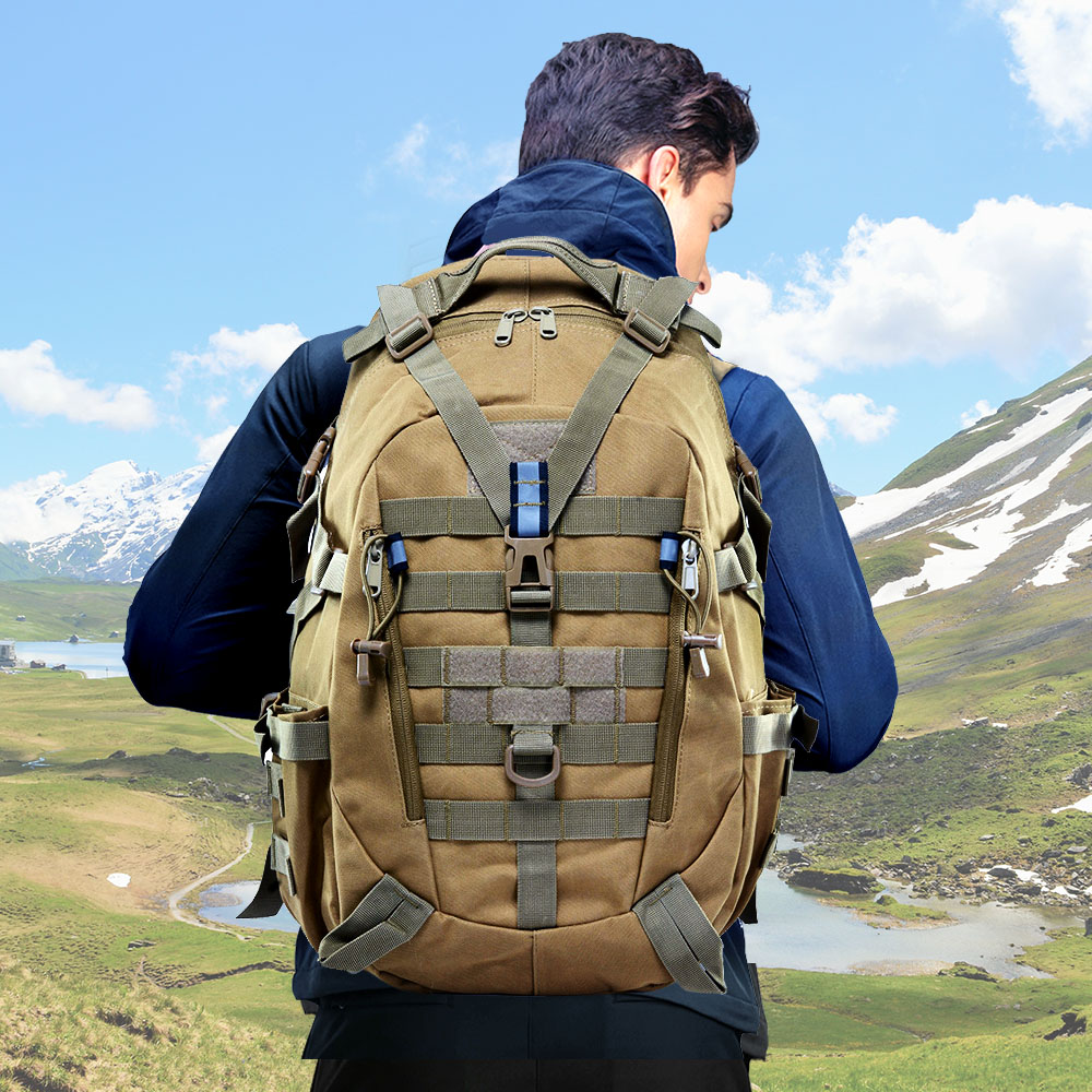 40L Camping Backpack Military Bag Men Travel Bags Tactical Army Molle Climbing Rucksack Hiking Outdoor Reflective Tas XA714A