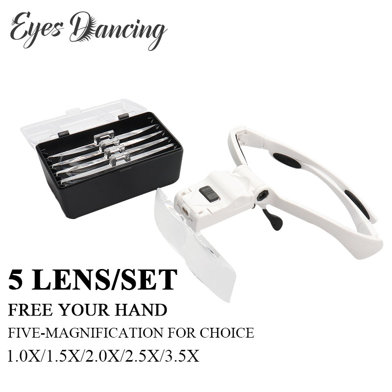 Eyelash Extension 5Lens Magnifying Glass Adjustable Headband Magnifier With LED Light Magnifying Glasses For Individual Lashes