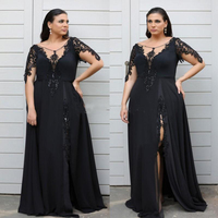 Stylish Lace Appliqued Plus Size Prom Dresses With Long Sleeves Sheer Neck Mother of the bride Dresses Split Evening Gowns