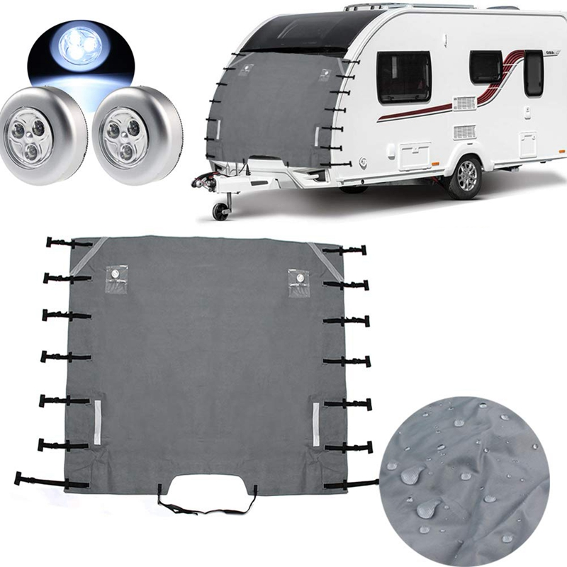Caravan Front Towing Cover,Universal Caravan Protector Covers <font><b>Accessories</b></font> with 2 LED Lights for <font><b>RV</b></font> <font><b>Motorhome</b></font> image
