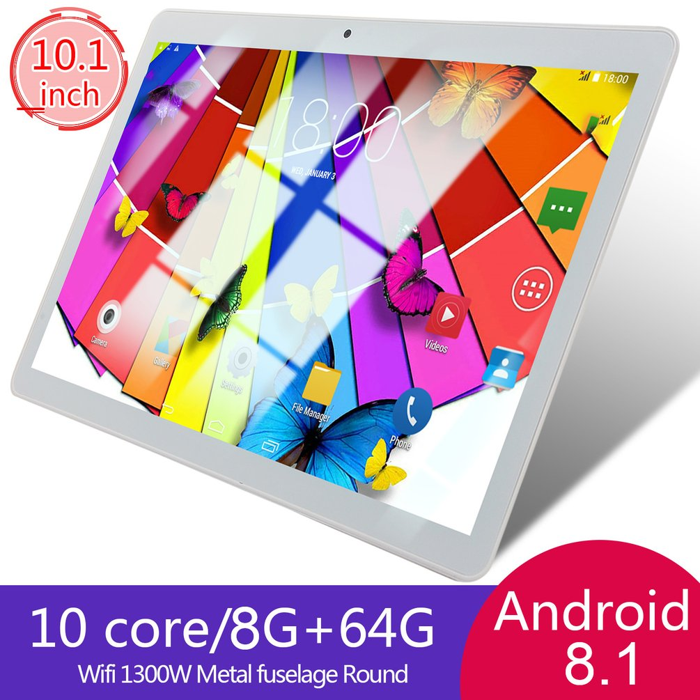 KT107 Round Hole Tablet 10.1 Inch HD Large Screen Android 8.10 Version Fashion Portable Tablet 8G+64G White Tablet White US Plug