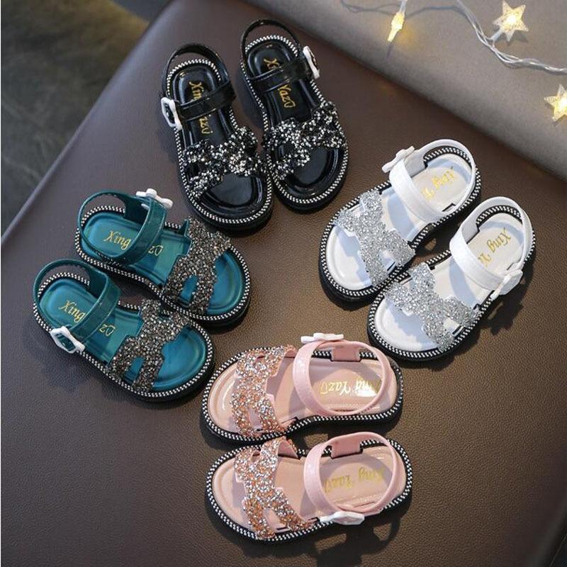 Korean Summer Children Shoes Girls Sandals Sequins Plastic Sandals Fashion Baby Toddler Girls Shoes Dance Princess Kids Shoes