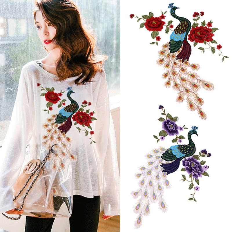 Fashion Fresh Decoration Diy Stickers Lace Cloth Embroidered Flowers Stereo Patch Large Clothing T-shirt Peacock