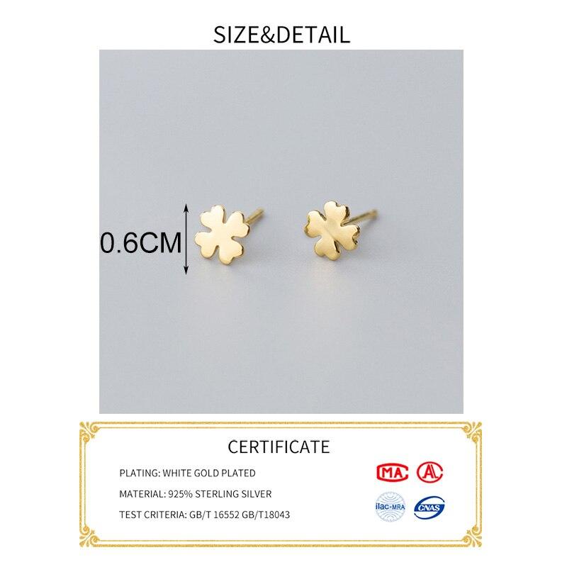INZATT Real 925 Sterling Silver Minimalist Clover Stud Earrings For Fashion Women Cute Fine Jewelry Lucky Accessories Gift