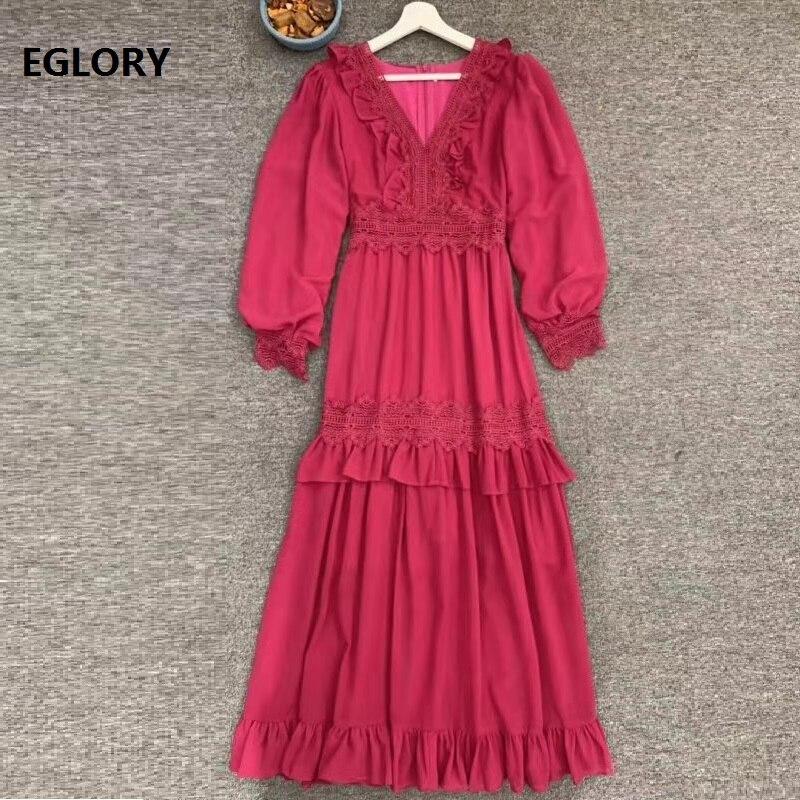 Top Quality Long Dress 2019 Autumn Long Party Evening Vestidos Women V-Neck Appliques Lace Patchwork Cascading Ruffle Dress Maxi