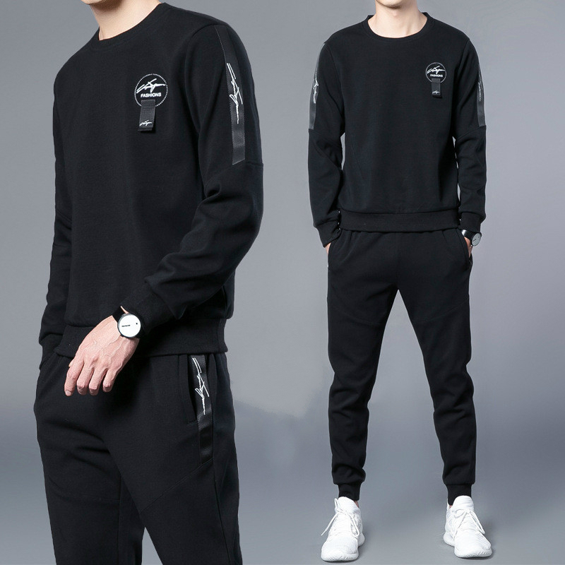 Spring Autumn Men Teenager Outdoor Large Size Loose Cotton Running Casual Wear Mens Casual Fall Sports Suit Two-piece Set Jacket