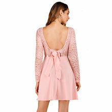 Joineles Sexy Backless Lace Women Party Dress Elegant Pink Long Sleeves Patchwork Women Mini Dress Bowknot Club Retro Vestidos(China)