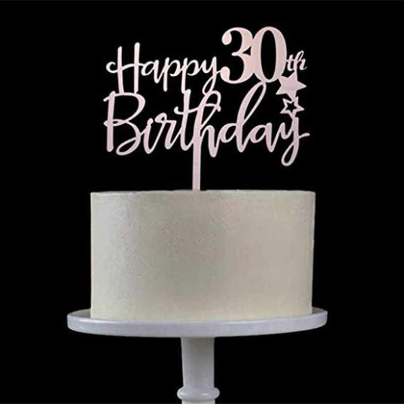 Happy 30th วันเกิดเค้กอะคริลิค Topper 30th ฉลองครบรอบวันเกิดสกปรก 30 Cheers ถึง 30 ปีเค้ก Topper