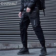 CHAIFENKO Nero Cargo Pantaloni Da Uomo Hip Hop Streetwear Pantaloni Sweatpant Moda di Harajuku Harem Pant Multi-Pocket Casual Mens Pantaloni