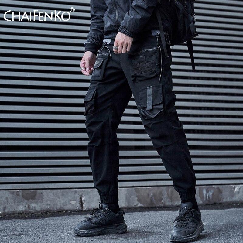 CHAIFENKO Black Cargo Pants Men Hip Hop Streetwear Joggers Sweatpant Fashion Harajuku Harem Pant Multi-Pocket Casual Mens Pants