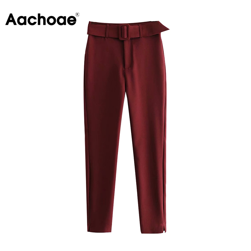 Aachoae Women Solid Pencil Pants With Belt Pleated Pockets Casual Trousers Split Wine Red Long Length Bottoms Female Ropa Mujer