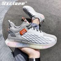 Sxclaee-zapatos informales para hombre, zapatillas transpirables con diseño de escamas de dragón, cómodas y suaves de PU, plantilla de deportes, resistentes al desgaste