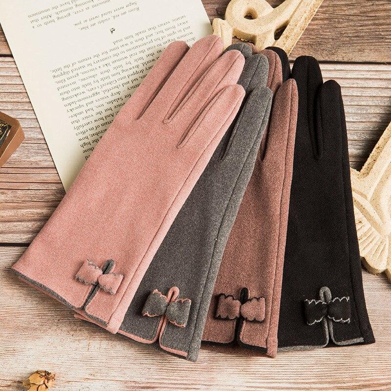 Gants chauds en cuir pour femmes, légers, doublés de molleton, gants chauds d