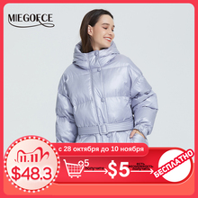 MIEGOFCE 2020 New Winter Womens Jacket High Quality Bright Colors Insulated Puffy Coat collar hooded Parka Loose Cut With Belt