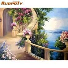 Набор для рисования по номерам на холсте лестница 60 х75 см