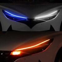 2 Piezas Luces de Circulación Diurna 60/45/30cm, Tira de luces LED para coche, IP68 Impermeable Tiras de Luces LED DRL 12V para Coche Tira del Faro Delantero Señal de giro