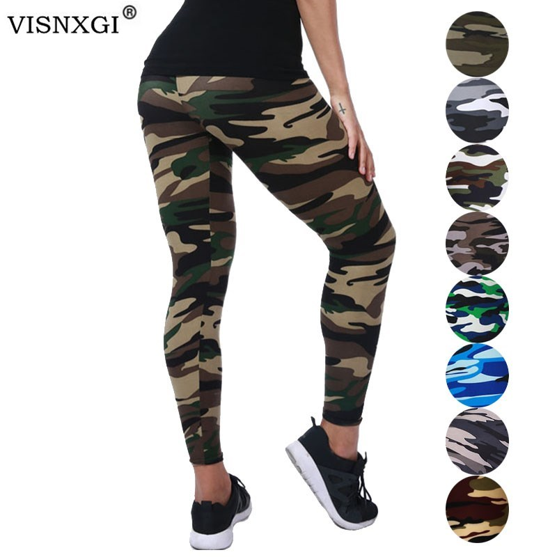 VISNXGI New Fashion 2019 Camouflage Printing Elasticity Leggings Camouflage Fitness Pant Legins Casual Milk Legging For Women-in Leggings from Women's Clothing