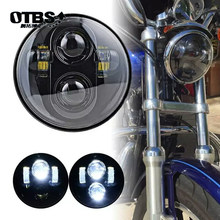 "OTBS 5.75 inch LED Headlight Projector Bulb 5 3/4"" 45W Hi/Lo Beam headlamp For Sportsters XL XG XR VRSCD Dyna Motorcycle(China)"