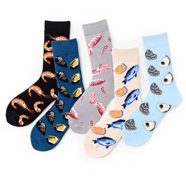 Novelty Happy Funny Men Graphic Socks Combed Cotton Omelette Frog Crazy Burger Salmon Corn Avocado Bird Fish Sock 5