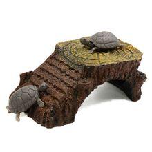 Ramp Mounted Resin Hut Habitat Landscape Aquarium for Aquatic Turtle Decoration