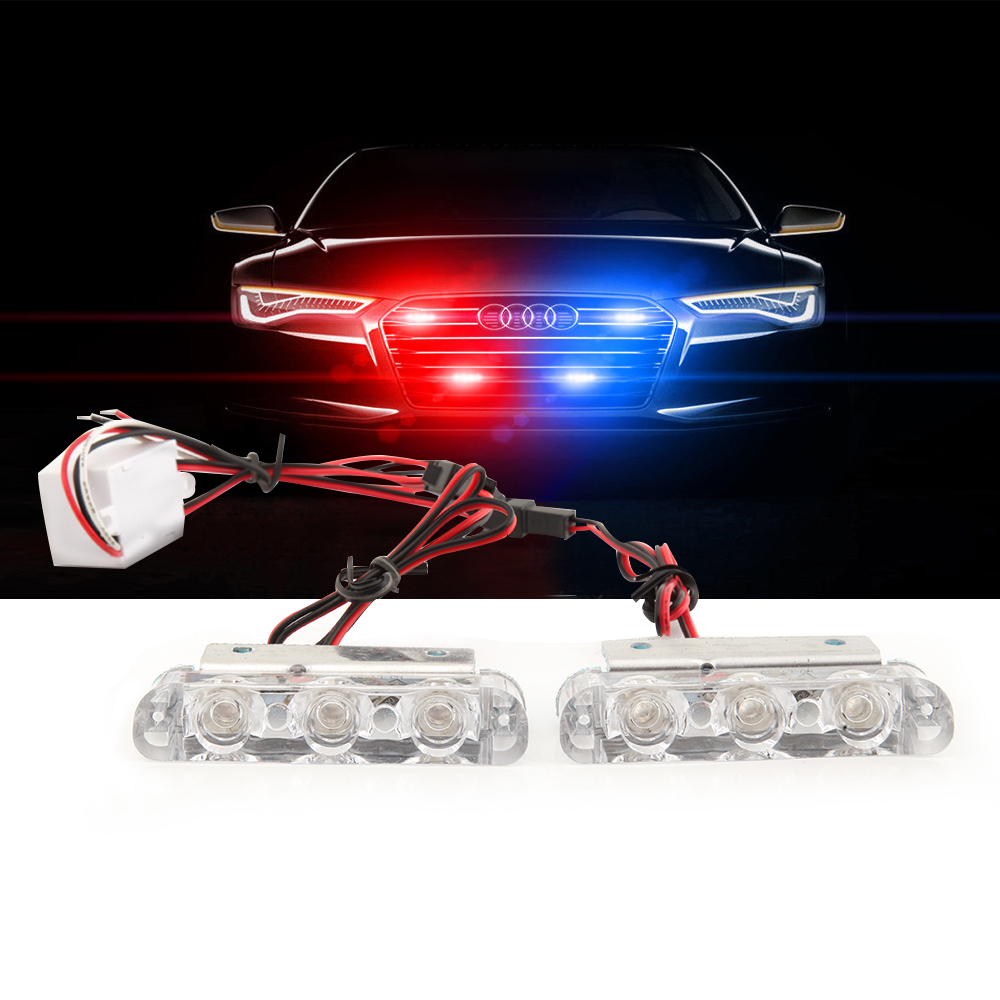 MZORANGE 2pcs 3 Led 12V Police Flashing Warning Led Rear Brake Stop Led Lights Strobe Light Lamp Police Lights