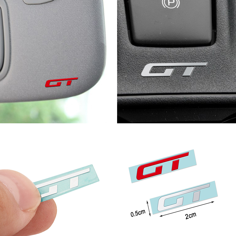 Car Styling GT Nickel Metal Emblem Badge Stickers Mobile Decals Decoration For Ford Mustang Focus 2 3 Fiesta Ranger Mondeo Mk2