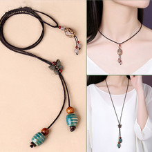 Women Honeydew bodhi Necklace Long Adjustable Rope Chain Butterfly Ceramics Sweater Chinese Ethnic Accessories