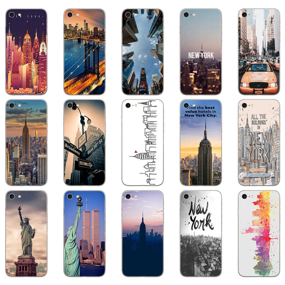 175DD New York City Zachte Silicone Cover Case Voor Iphone 5 5S Se 6 6S 8 Plus 7 7 Plus X Xs Sr Max Case