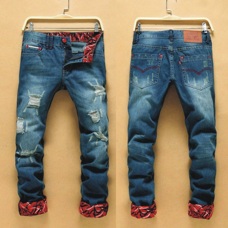 New Style Men With Holes Jeans Fashion Man Casual Straight-leg Pants Trend Of Fashion Printed Slim Fit Jeans 506