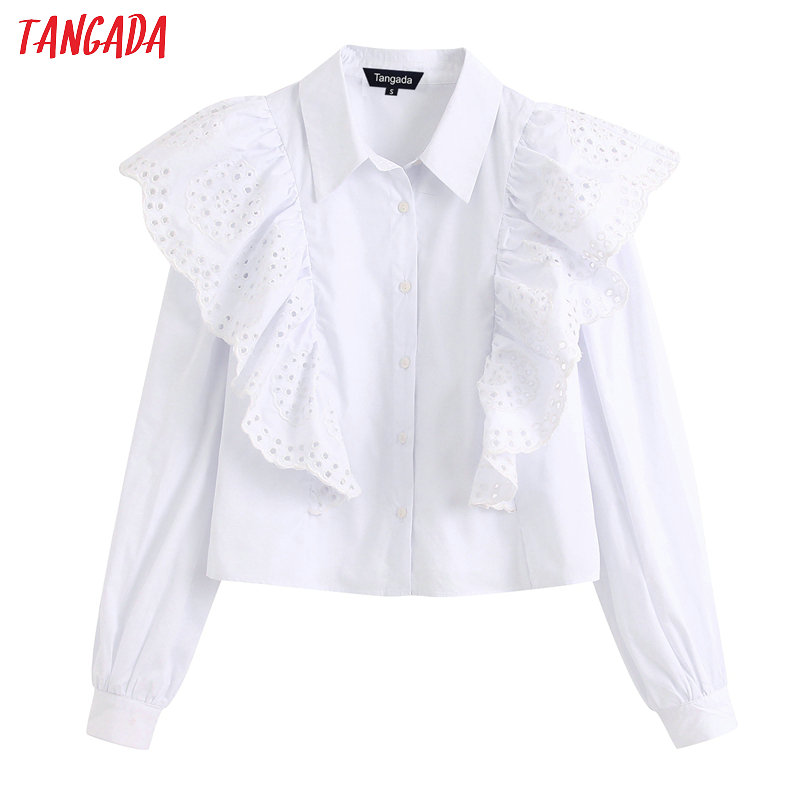 Tangada Women Emboridery Ruffle White Shirts Long Sleeve2020 New Ladies High Street Blouses Tops BE250