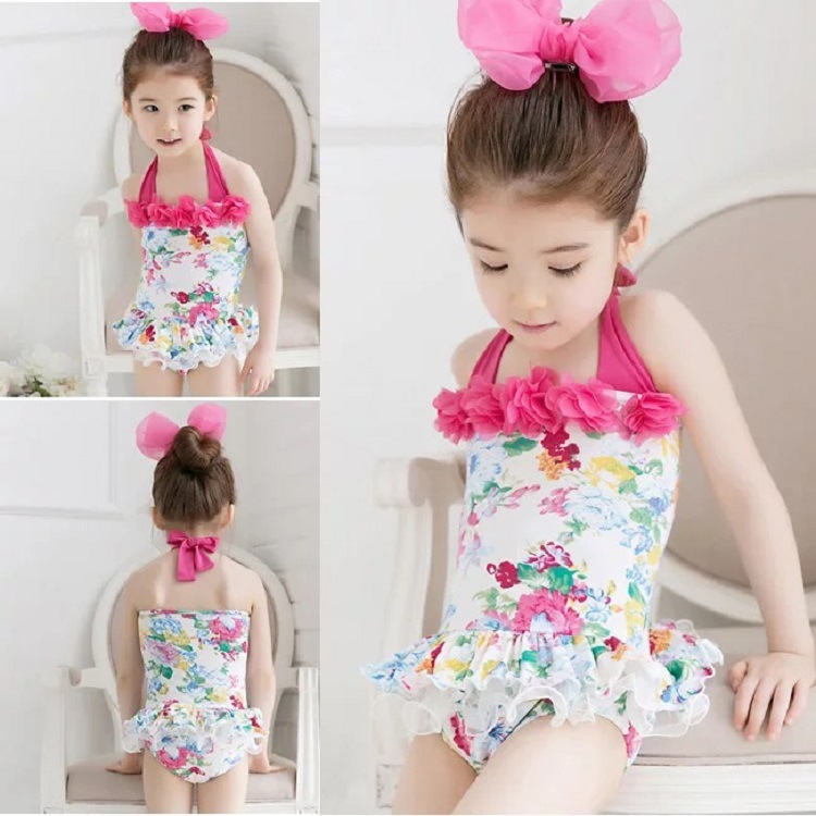 Hot Sales New Style Foreign Trade Girls Swimwear Women's One-piece Swimsuit For Children Flower Baby Infants Swimwear Wholesale