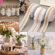 2m/Roll Linen Vintage Burlap Lace Table Runner Handmade Jute Burlap Band for Country Party Wedding Christmas Decoration