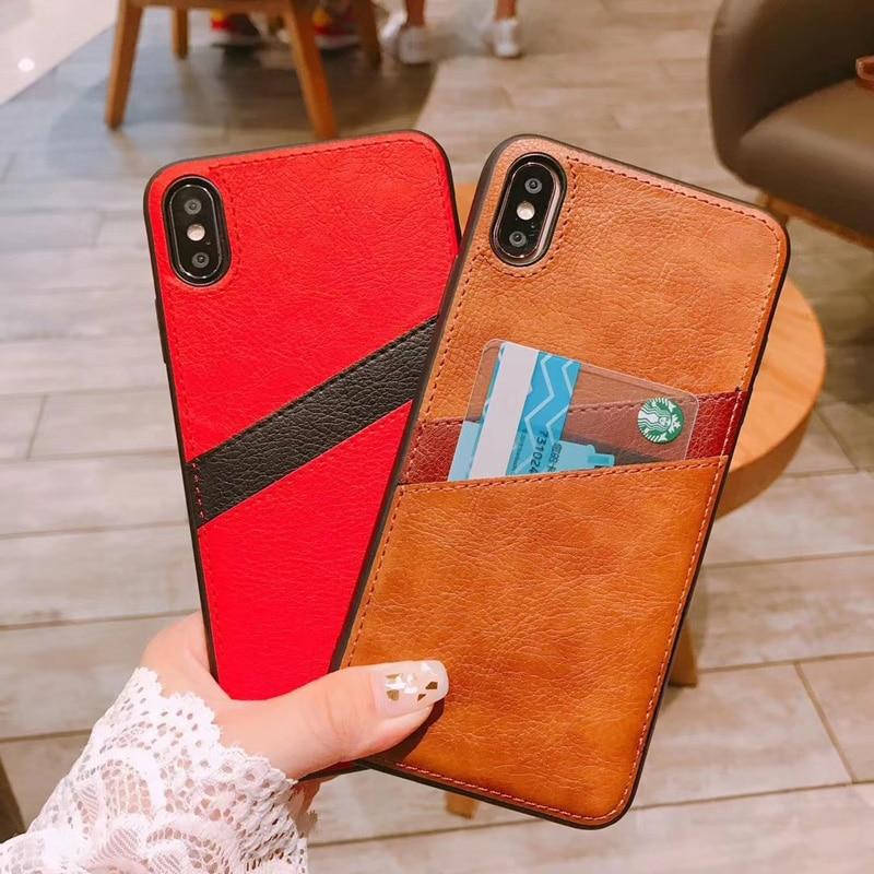 Porte-cartes en cuir d'affaires housses pour iPhone7 8 iPhone XR XS XSMAX carte